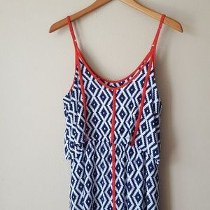 Navy blue and white maxi dress with orange accent